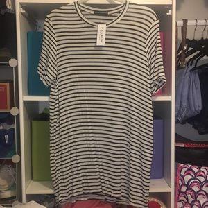 Brandy Melville Black/White Striped T-Shirt Dress